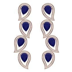 16.44 CTW Royalty Sapphire & VS Diamond Earrings 18K Rose Gold - REF-318H2W - 39457