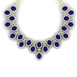 81 CTW Royalty Sapphire & VS Diamond Necklace 18K Yellow Gold - REF-1563T6X - 38627