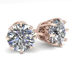 3.09 CTW VS/SI Diamond Stud Solitaire Earrings 18K Rose Gold - REF-957R2K - 35699