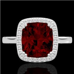 3 CTW Garnet & Micro Pave VS/SI Diamond Certified Halo Ring 18K White Gold - REF-48M5F - 22843