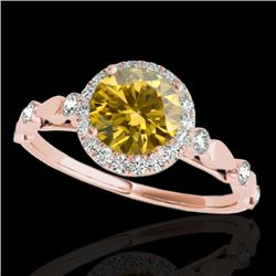 1.25 CTW Certified Si Fancy Intense Yellow Diamond Solitaire Halo Ring 10K Rose Gold - REF-154K5R -