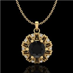 1.2 CTW Fancy Black Diamond Art Deco Micro Pave Stud Necklace 18K Yellow Gold - REF-92F8M - 37739