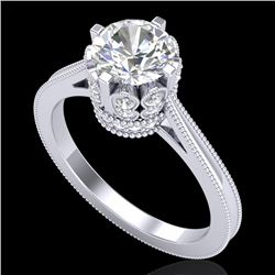 1.5 CTW VS/SI Diamond Art Deco Ring 18K White Gold - REF-399X3T - 36830