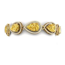 38.99 CTW Royalty Canary Citrine & VS Diamond Bracelet 18K Yellow Gold - REF-436N4Y - 39569