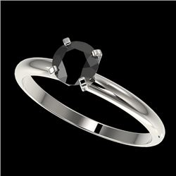 0.75 CTW Fancy Black VS Diamond Solitaire Engagement Ring 10K White Gold - REF-28M5F - 32877