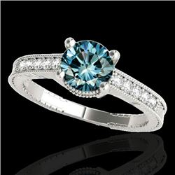 1.2 CTW SI Certified Fancy Blue Diamond Solitaire Antique Ring 10K White Gold - REF-155T5X - 34752
