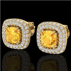 2.16 CTW Citrine & Micro VS/SI Diamond Earrings Double Halo 18K Yellow Gold - REF-99R3K - 20340
