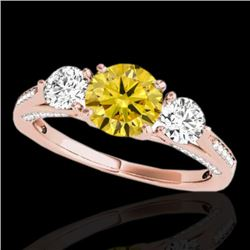 1.75 CTW Certified Si Fancy Intense Yellow Diamond 3 Stone Ring 10K Rose Gold - REF-236W4H - 35357