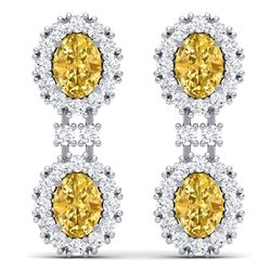 7.8 CTW Royalty Canary Citrine & VS Diamond Earrings 18K White Gold - REF-180F2M - 38823