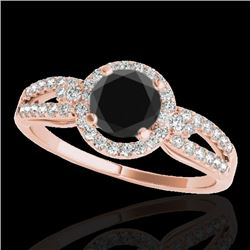 1.25 CTW Certified Vs Black Diamond Solitaire Halo Ring 10K Rose Gold - REF-57K5R - 34091