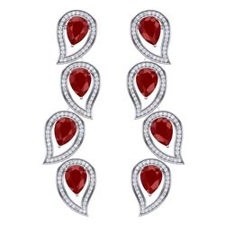 16.44 CTW Royalty Designer Ruby & VS Diamond Earrings 18K White Gold - REF-336F4M - 39453