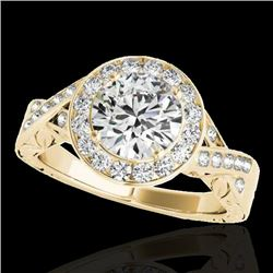 1.75 CTW H-SI/I Certified Diamond Solitaire Halo Ring 10K Yellow Gold - REF-360M5F - 34524