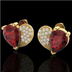 2.50 CTW Garnet & Micro Pave VS/SI Diamond Certified Earrings 10K Yellow Gold - REF-30X2T - 20076