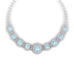 47.10 CTW Royalty Sky Topaz & VS Diamond Necklace 18K White Gold - REF-1509R3K - 38802