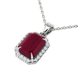 5.50 CTW Ruby And Micro Pave VS/SI Diamond Halo Necklace 18K White Gold - REF-79N6Y - 21365