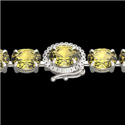 29 CTW Citrine & VS/SI Diamond Tennis Micro Pave Halo Bracelet 14K White Gold - REF-117H3W - 23418