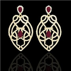 7 CTW Ruby & Micro VS/SI Diamond Heart Earrings Designer Solitaire 14K Yellow Gold - REF-381M8F - 21