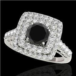 2.05 CTW Certified Vs Black Diamond Solitaire Halo Ring 10K White Gold - REF-114N2Y - 34588