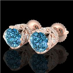 3 CTW Fancy Intense Blue Diamond Solitaire Art Deco Earrings 18K Rose Gold - REF-349R3K - 37419