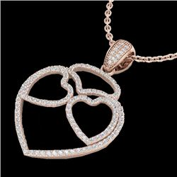 1.20 CTW Micro Pave VS/SI Diamond Designer Heart Necklace 14K Rose Gold - REF-110F9M - 22547