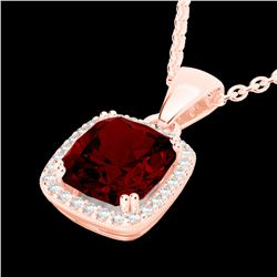 3 CTW Garnet & Micro VS/SI Diamond Pave Halo Solitaire Necklace 14K Rose Gold - REF-38T9X - 22824