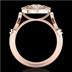 1.12 CTW VS/SI Diamond Solitaire Art Deco Ring 18K Rose Gold - REF-250F2M - 36978