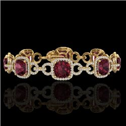 30 CTW Garnet & Micro VS/SI Diamond Certified Bracelet 14K Yellow Gold - REF-368M9F - 23025