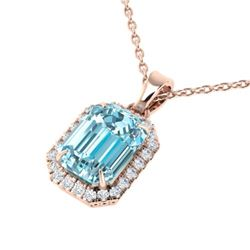 6 CTW Sky Blue Topaz And Micro Pave VS/SI Diamond Halo Necklace 14K Rose Gold - REF-50K9R - 21352