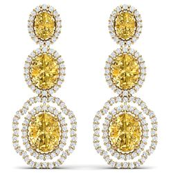 16.15 CTW Royalty Canary Citrine & VS Diamond Earrings 18K Yellow Gold - REF-290M9F - 39218