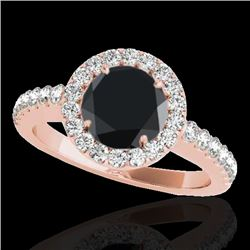 1.65 CTW Certified Vs Black Diamond Solitaire Halo Ring 10K Rose Gold - REF-80X4T - 33476