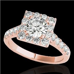 2 CTW H-SI/I Certified Diamond Solitaire Halo Ring 10K Rose Gold - REF-210T9X - 34133