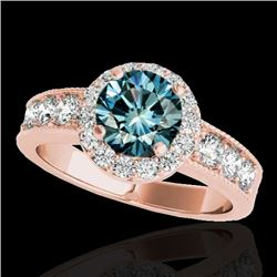 1.85 CTW SI Certified Fancy Blue Diamond Solitaire Halo Ring 10K Rose Gold - REF-207N3Y - 34537