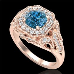 1.75 CTW Fancy Intense Blue Diamond Solitaire Art Deco Ring 18K Rose Gold - REF-236Y4N - 38280