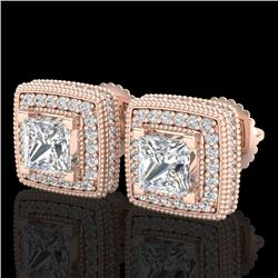 2.01 CTW Princess VS/SI Diamond Art Deco Stud Earrings 18K Rose Gold - REF-245H5W - 37128