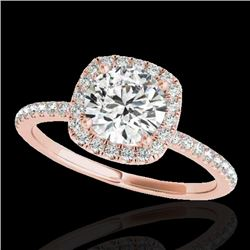 1.25 CTW H-SI/I Certified Diamond Solitaire Halo Ring 10K Rose Gold - REF-150F9M - 33326