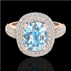 3.50 CTW Topaz & Micro Pave VS/SI Diamond Certified Halo Ring 10K Rose Gold - REF-94M9F - 20708