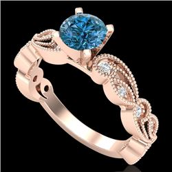 1.01 CTW Fancy Intense Blue Diamond Solitaire Art Deco Ring 18K Rose Gold - REF-143T6X - 38273
