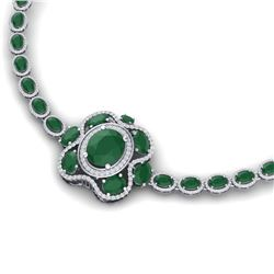 47.43 CTW Royalty Emerald & VS Diamond Necklace 18K White Gold - REF-981M8F - 39327