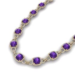 66 CTW Amethyst & VS/SI Diamond Necklace 14K Yellow Gold - REF-794W5H - 23037