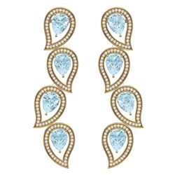 15.69 CTW Royalty Sky Topaz & VS Diamond Earrings 18K Yellow Gold - REF-281R8K - 39461