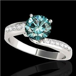 1.4 CTW SI Certified Fancy Blue Diamond Bypass Solitaire Ring 10K White Gold - REF-180K2R - 35077