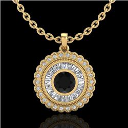 2.11 CTW Fancy Black Diamond Solitaire Art Deco Stud Necklace 18K Yellow Gold - REF-180M2F - 37914