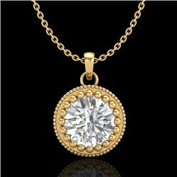 1 CTW VS/SI Diamond Solitaire Art Deco Necklace 18K Yellow Gold - REF-292N5Y - 36892