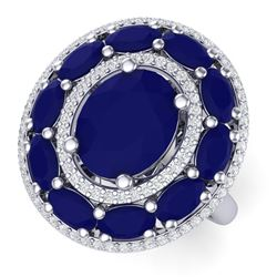 8.05 CTW Royalty Designer Sapphire & VS Diamond Ring 18K White Gold - REF-143K6R - 39243