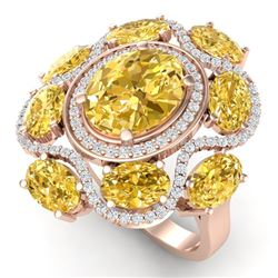 7.68 CTW Royalty Canary Citrine & VS Diamond Ring 18K Rose Gold - REF-178R2K - 39307