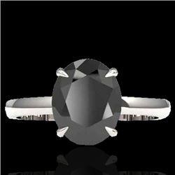 5 CTW Black VS/SI Diamond Designer Inspired Solitaire Ring 18K White Gold - REF-124T9X - 22055