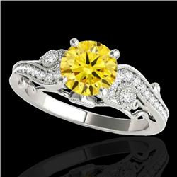 1.5 CTW Certified Si Intense Yellow Diamond Solitaire Antique Ring 10K White Gold - REF-262Y8N - 348