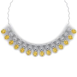 53.57 CTW Royalty Canary Citrine & VS Diamond Necklace 18K White Gold - REF-927X3T - 39075
