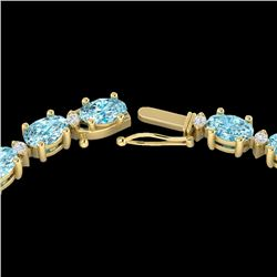 34 CTW Sky Blue Topaz & VS/SI Diamond Certified Tennis Necklace 10K Yellow Gold - REF-149W8H - 21588