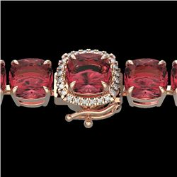 40 CTW Pink Tourmaline & Micro VS/SI Diamond Halo Bracelet 14K Rose Gold - REF-476T5X - 23320